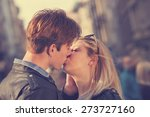 couple enjoying outdoors in a... | Shutterstock . vector #273727160