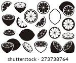 black vector lemon icons... | Shutterstock .eps vector #273738764