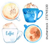 coffee cups painted with... | Shutterstock .eps vector #273745130