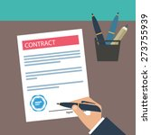 hand signing contract on white... | Shutterstock .eps vector #273755939