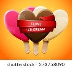 sweet vector heart shaped... | Shutterstock .eps vector #273758090