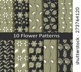 set of ten flower patterns | Shutterstock .eps vector #273764120
