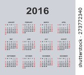calendar for 2016 on gray... | Shutterstock .eps vector #273772340