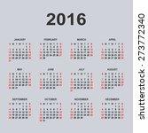 calendar for 2016 on gray... | Shutterstock .eps vector #273772340