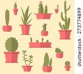 succulents set. flat design. | Shutterstock .eps vector #273774899