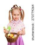 happy little girl with basket... | Shutterstock . vector #273779264