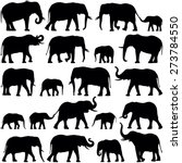 Stock vector elephant collection vector silhouette 273784550