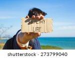 hipster man holding a paper...   Shutterstock . vector #273799040
