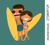 Surfing Couple. Cartoon...