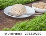 cooked jasmine brown rice on... | Shutterstock . vector #273819230