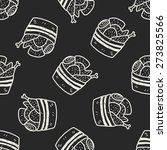 doodle chicken seamless pattern ... | Shutterstock .eps vector #273825566