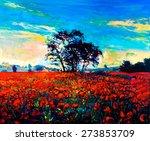 Original Oil Painting Of Poppy...
