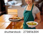 cropped image of waitress... | Shutterstock . vector #273856304