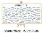 Small photo of Stereotype Dry Erase Board on Easel (Nerd, Brainiac, Cutter, Metrosexual, Wall Flower, Geek, Pothead, Snob, Thug, Ghetto, Outcast, Acid Head, Social Deviant, Tranny, Artsy, Skater) isolated on white