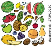 freehand color drawing fruits . ... | Shutterstock .eps vector #273910250