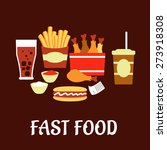 fast food snacks and drinks set ... | Shutterstock .eps vector #273918308