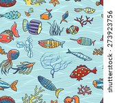 tropical fishes seamless... | Shutterstock .eps vector #273923756