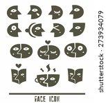 black face icons set | Shutterstock .eps vector #273934079