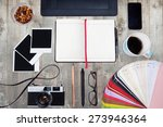 work space on wood table with... | Shutterstock . vector #273946364
