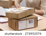 cardboard boxes on work place... | Shutterstock . vector #273952574