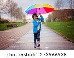 cute little boy  walking in a... | Shutterstock . vector #273966938