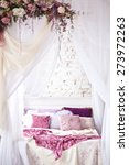 White Cozy Bed With Vintage...