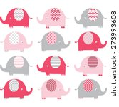 pink cute elephant collections | Shutterstock .eps vector #273993608