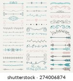 set of artistic hand drawn... | Shutterstock .eps vector #274006874