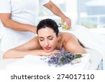 smiling woman getting an... | Shutterstock . vector #274017110