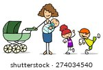 single mother with baby and two ... | Shutterstock . vector #274034540