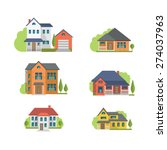 colorful flat residential... | Shutterstock .eps vector #274037963