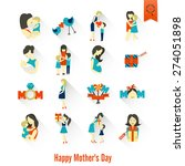 happy mothers day simple flat... | Shutterstock .eps vector #274051898