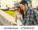 selfie with smartphone  happy...   Shutterstock . vector #274064150