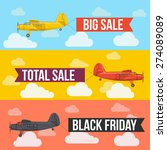 airplane with banner. flat... | Shutterstock .eps vector #274089089