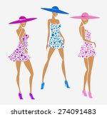 set sexy girl photo in a dress... | Shutterstock .eps vector #274091483