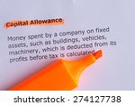 Small photo of capital allowance word highlighted on the white paper