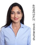 Stock photo passport picture of a smiling turkish businesswoman 274128659