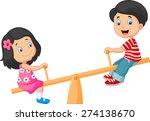 cartoon kids see saw | Shutterstock .eps vector #274138670