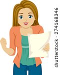 illustration of a girl happy... | Shutterstock .eps vector #274168346