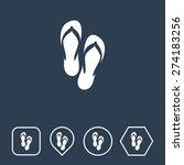 beach slippers  icon on flat ui ...