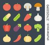 vegetable flat icons | Shutterstock .eps vector #274202090