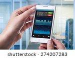 a woman holding a smart phone... | Shutterstock . vector #274207283