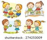 set of four cartoon... | Shutterstock .eps vector #274253009