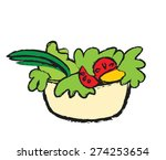 doodle color salad bowl  vector ... | Shutterstock .eps vector #274253654