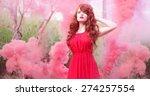 red hair woman wearing dress... | Shutterstock . vector #274257554