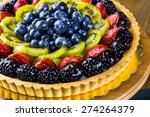Fresh Fruit Tart On Cake Stand...