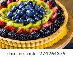 Fresh Fruit Tart On Cake Stand...