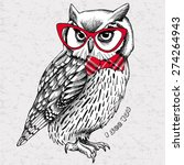 Stock vector the image of an owl with bow and glasses vector illustration 274264943