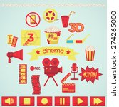 set of colorful cinema icons | Shutterstock .eps vector #274265000