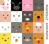 set of colorful simple animal... | Shutterstock .eps vector #274265036
